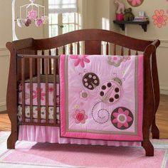 Little Lady Bug and Flowers 4 Pieces Crib Bedding Set Pink Girls Baby Nursery Nursery Bedding Sets Girl, Baby Girl Nursery Themes, Nursery Ideas, Baby Bedding, Bedroom Ideas, Bedroom Decor, Ladybug Nursery, Girls Bedroom Sets, Girl Cribs