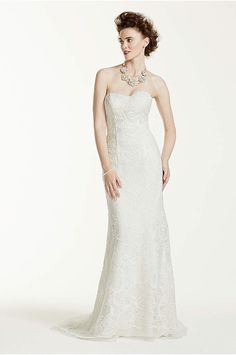 Strapless Lace Wedding Dress with Removable Train - Davids Bridal