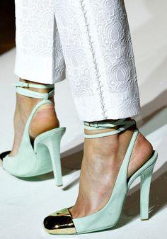 mint heels with gold cap