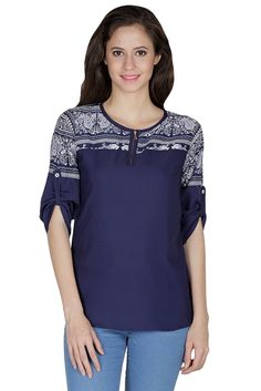 288895d859e Mayra Party Crepe Top Blue 1507T08047 - Mayra Tops and tunics for women