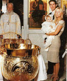 Crown Princess Marie-Chantal and Crown Prince Pavlos at the christening of Prince Odysseas Kimon