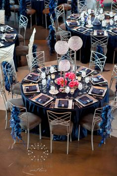Chameleon chairs compliment this stunning event decor! Diy Wedding, Wedding Events, Dream Wedding, Wedding Ideas, Blue Wedding Flowers, Wedding Blue, Crystal Centerpieces, Fire Pit Table And Chairs, Wedding Table Decorations