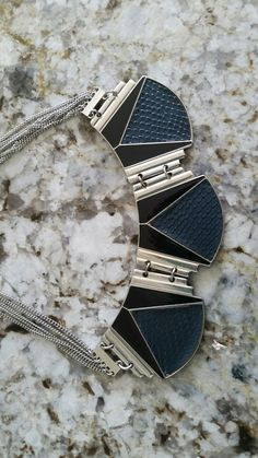 Black and silver leather and metal necklace Express