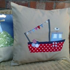 NEW....linen polka fishing boat cushion with seagull
