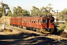 Two Redhen railcars working a Belair to Adelaide local train in 1990 at the Eden Hills railway station in Eden Hills, South Australia. Adelaide Sa, National Railway Museum, Hobby Trains, Rail Car, Family Days Out, Train Rides, South Australia, Model Trains, Red Hen
