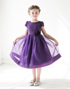 6ab927e4d2c8 Flower Girl Dress Attractive Lace and Mirror Organza Wedding Dress Purp  Party Dress Special Occasion Dress