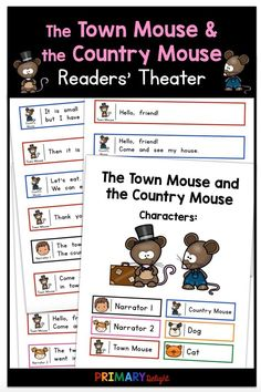 The Town Mouse and the Country Mouse Readers' Theater First Grade Reading, First Grade Classroom, Shared Reading, Guided Reading, Classroom Routines, Classroom Ideas, Teaching Channel, Dramatic Play Centers, Education Humor