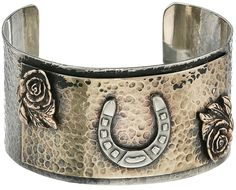 Gypsy SOULE Horseshoe & Roses Hammered Silver Cuff