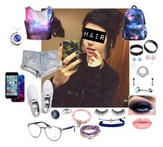 """""""Galaxy"""" by dcthompsonn on Polyvore featuring Keds, One Teaspoon, Swarovski, claire's, Lime Crime, BHCosmetics, Domo Beads, Vivien Frank Designs, Fiorelli and Ray-Ban"""