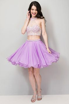 2016 Short Two-Piece Prom Dresses Lilac Chiffon