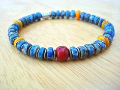 Men's Spiritual Protection, Balance Bracelet with Semi Precious Cobalt Imperial Jasper, Mango Color Shell, Red Resin, Gunmetal and Bali Bead