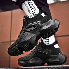 New Men Sneakers Thick Sole Breathable Mesh Running Shoes for Men Platform Chunky Shoes Outdoors Walking Shoes Zapatillas Chunky Shoes, Chunky Sneakers, Casual Shoes, Men Casual, Casual Outfits, Sneakers Fashion, Men Sneakers, Bermuda, Urban Fashion
