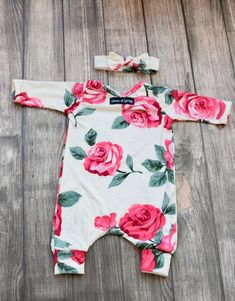 Pink Floral on Ivory Long Sleeve Slip On Snapless Romper and Long Romper, Long Sleeve Romper, Little Girl Outfits, Boy Outfits, Future Baby, Future Daughter, Baby Girl Pajamas, Baby Sleepers, Vintage Headbands