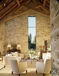 The Creamery - Stone & Window - Wohnzimmer - Montana - Architektur: JLF & Asso . The Creamery - S Rustic Italian, Italian Home, Living Room Windows, Living Room Art, Montana, Barn Renovation, Victorian Decor, Rustic Chic, Elle Decor