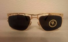 Orig 90's Vintage Gold Metal Sharp  Sunglasses Square Designer inspired  #100originalOVALDesignerHandMade