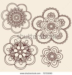 Hand-Drawn Henna Mendhi Mandala Paisley Flowers Doodle Vector Illustration Design Elements by blue67design, via Shutterstock