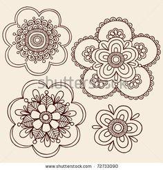 Hand-Drawn Henna Mendhi Mandala Paisley Flowers Doodle Vector Illustration Design Elements - stock vector