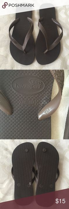 Brown Havaianas flip flops Very lightly worn- in great condition! Havaianas Shoes Sandals