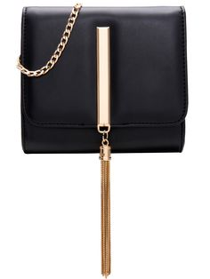 Black Chain Tassel Metal Embellished Bag 21.33
