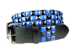 Snap On Punk Rock Black  Blue Star Studded Checker Board Pattern Leather Belt ♥