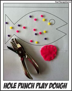 Hole Punch Play Dough- fun way to incorporate hand strengthening. From Your Therapy Source. Pinned by SOS Inc. Motor Skills Activities, Therapy Activities, Fine Motor Skills, Therapy Games, Group Activities, Creative Activities, Therapy Ideas, Writing Activities, Pediatric Occupational Therapy