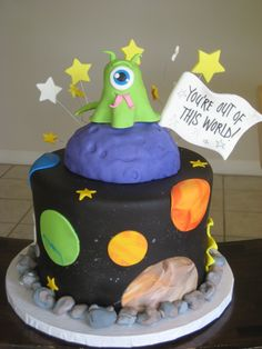 outer space cake with alien (more detail on how it was made)