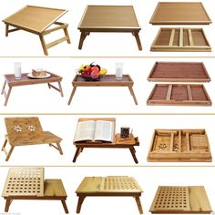 Deluxe large medium wooden bamboo laptop tray table desk bed folding adjustable - home/mobel Lap Table, Lap Desk, Table Desk, Desk Bed, Dining Room Table, Laptop Table For Bed, Antique Dining Tables, Bed Tray, Smart Furniture