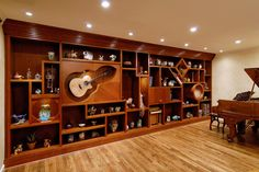 Custom wall unit that is art in and of itself! - eclectic - living room - dc metro - Shea Studio Interiors, Inc Home Music Rooms, Music Studio Room, Custom Cabinet Doors, Custom Cabinets, Eclectic Living Room, Living Room Designs, Living Rooms, Studio Interior, Interior Design