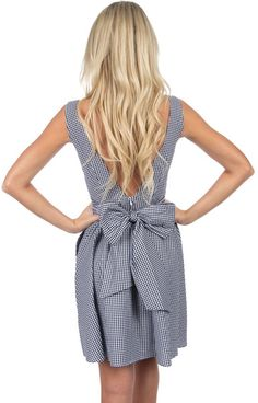 The Emerson Gingham Dress - Black Gingham Back