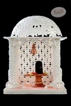 This is my first ever structured sugar piece. Since being born in a religious family we have always had prayer rooms with mini temples. Now, I have a lovely white marble temple in my home, by looking at it is how I start my day which adds a. Chandelier Cake, Mandir Design, Pearl Sugar, Prayer Room, Incredible India, White Marble, Shiva, Temples, Eat Cake