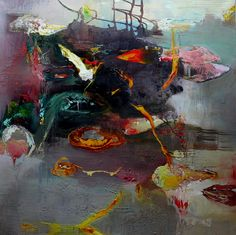 Moris GONTARD, Tout en flânant, 150 x 150 cm, huile et acrylique sur toile. http://www.galeriealaindaudet.fr/moris-gontard/