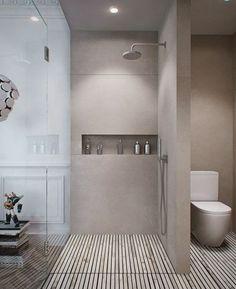 salle de bains grise en bton et bois - Salle De Bain Douche Italienne Grise