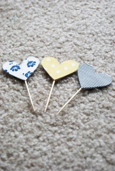 fabric hearts for cupcake toppers