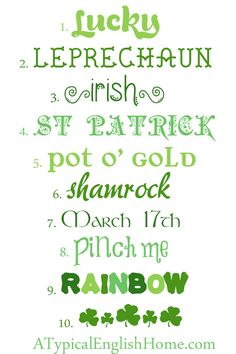 A Typical English Home: St Patrick's Day Fonts #Spring #Typography #Graphic Design