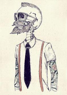 Skull Inspiration | skeleton hipster #tattoos