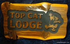 2 foot cedar sign Top Cat Lodge #2 Reverse Brewers Bold Font Top Cat Cartoon Image