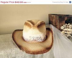 bc70878de76 Vintage Country Cowgirl hat bachelorette party veil