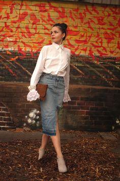 #denim#skirt#white#shirt#fall#in#love