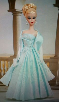 fashion doll, blue dress, Capucine in Antoinette55's gown