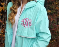 SALE Monogrammed Rain Coat from Charles River  You will love this hooded rain jacket with classic circle monogram on the front left chest of the jacket and on the hood. Very preppy and collegiate. Great for moms, sisters, daughters, friends, and girlfriends. This is the perfect Personalized Gift for Her, Bridesmaid Gift or Fashion Accessory.  ♥Product Details♥ - Jacket has a very flattering feminine fit - Lined with a grey mesh - Pockets with zippers - Wind & waterproof  ♥♥♥♥♥ REQUIRED IN...
