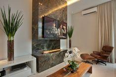 A Lenha, Gás, Etanol, Elétrica e Metálica! Tv Wall Cabinets, Tv Wall Design, Home Living Room, Architecture Design, Dining Room, Interior Design, House, Home Decor, 30
