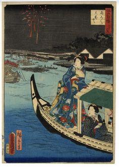 Hiroshige II, ToyokuniⅢ - Thirty-six Landmarks of Edo, Fireworks of Ryogoku - Ukiyo-e - Ukiyoe Gallery SHUKADO