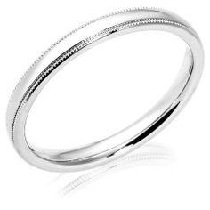 Women's Platinum 3mm Comfort Fit Milgrain Plain Wedding Band Amazon Curated…