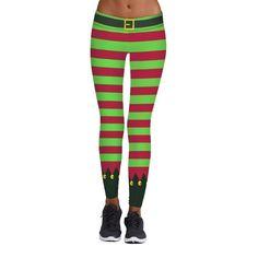 New Girls Ladies Christmas Xmas Santa Elf Reindeer Stretch Leggings Trouser Pant