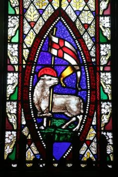 Worthy is the Lamb that was slain to receive power and riches, wisdom and strength, honor and glory and blessing! Revelation 5:12  A lamb holding a Christian banner is a typical symbol for Agnus Dei, Latin: Meaning Lamb of God. In all Catholic Churches above the Alter and many,many Protestant  Churches as well.