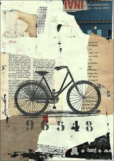Print Art canvas assemblage gift Ink Drawing Collage Mixed Media Bicycle Bike Painting Illustration Autographed signed Ologeanu wall decor