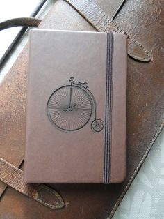Laser-engraved, Pocket-sized, Notebook with Penny Farthing Bicycle Motif
