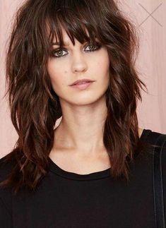 Medium Shag Haircuts, Long Shag Haircut, Lob Haircut, Haircut Styles, Medium Hair Cuts, Medium Hair Styles, Curly Hair Styles, Edgy Long Hair Styles, Hairstyles With Bangs