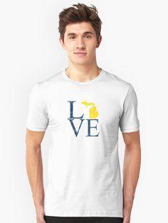 Achetez le design «Michigan Love Letters Bleu Jaune Mitten State Upper Peninsula» par ericthemagenta sur les produits suivants: