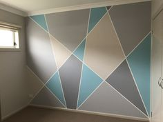 Geometric wall pattern and colours for a tween girl Tween Girls Bedroom colours Geometric Girl PATTERN Tween wall Bedroom Wall Designs, Bedroom Wall Colors, Wall Paint Patterns, Painting Patterns, Room Wall Painting, Diy Painting, Geometric Wall Paint, Geometric Decor, Creative Walls